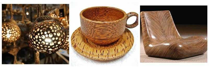 Lemnul de palmier de cocos corpuri de iluminar, vase de bucătărie, mobilier
