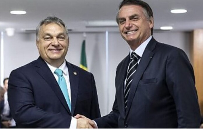 Președintele Jair Bolsonaro ,premierul Viktor Orban